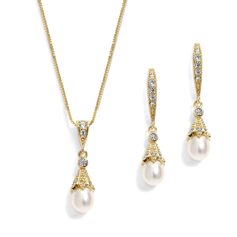 Vintage Look 14K Gold Freshwater Pearl and CZ Wedding Jewelry Set