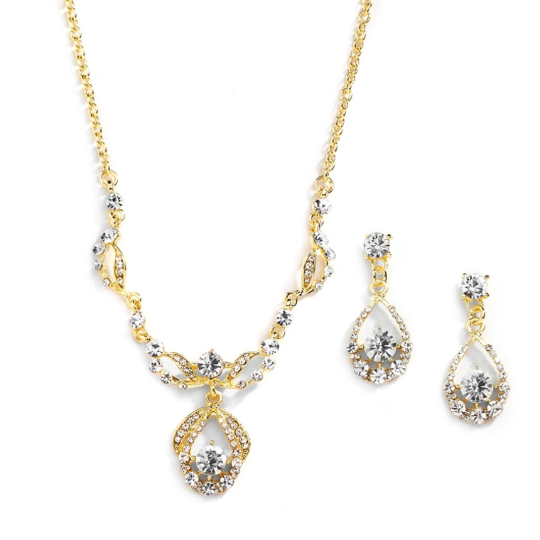14k Gold Plated Crystal Bridal Jewelry Set