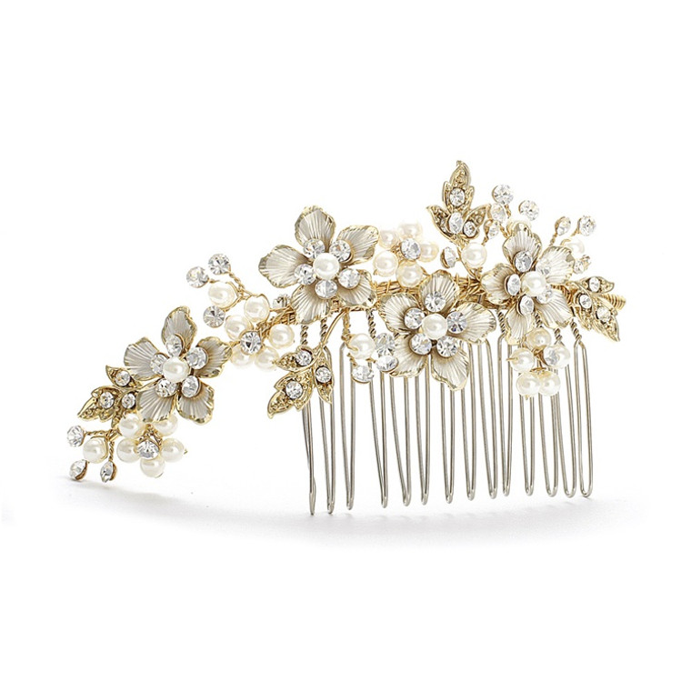 Gold Floral Rhinestone and Pearl  Wedding Comb