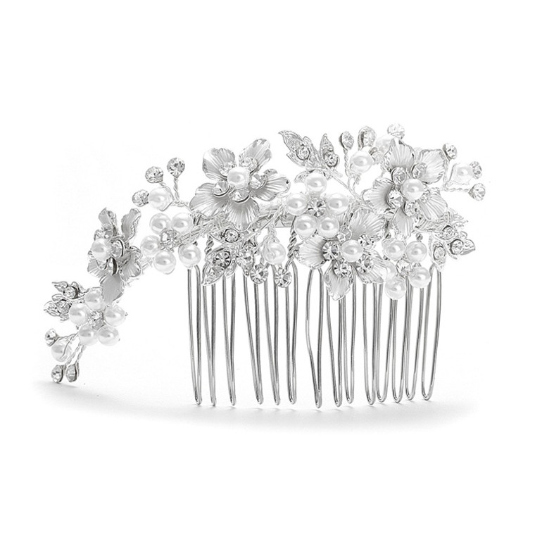 Silver Floral Rhinestone and White Pearl  Wedding Comb