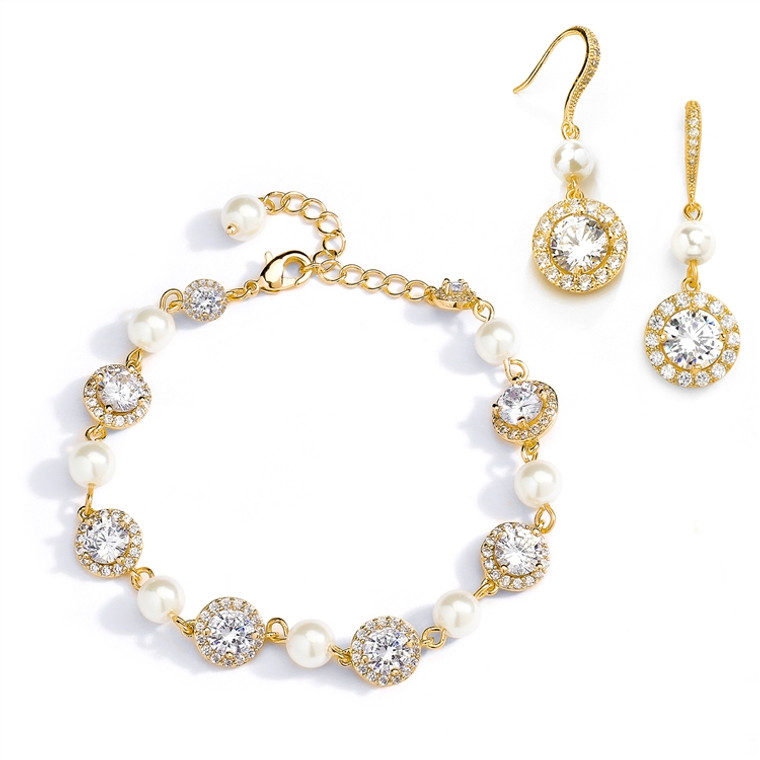 14K Gold Plated Pearl and CZ Wedding Bracelet and Earring Set