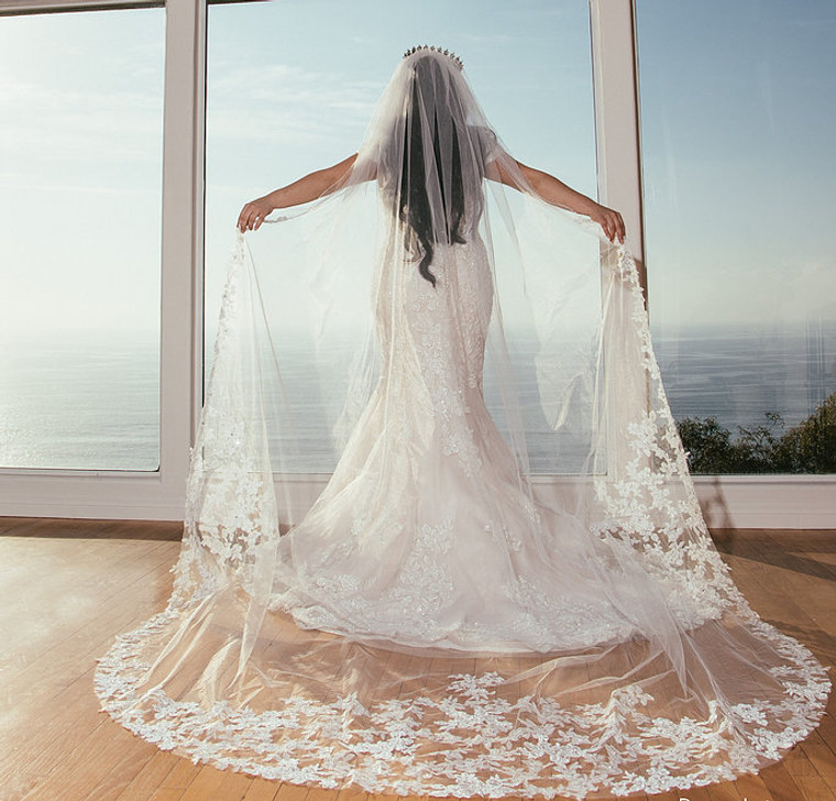 Royal Cathedral Beaded Lace Wedding Veil with Extra Width
