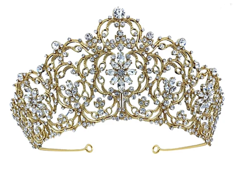 """Gold or Silver 2 3/4"""" Tall Rhinestone Wedding and Quinceanera Tiara"""
