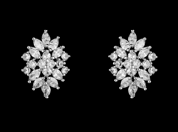 CZ Crystal French Clip Pierced Stud Wedding Earrings in Silver or Gold
