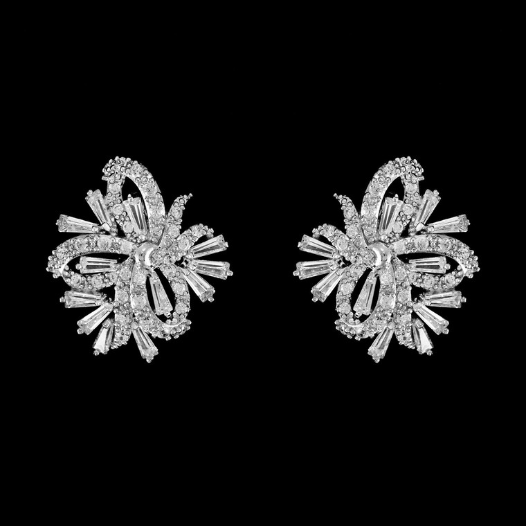 CZ Crystal Pierced Stud Wedding Earrings in Silver, Gold or Rose Gold