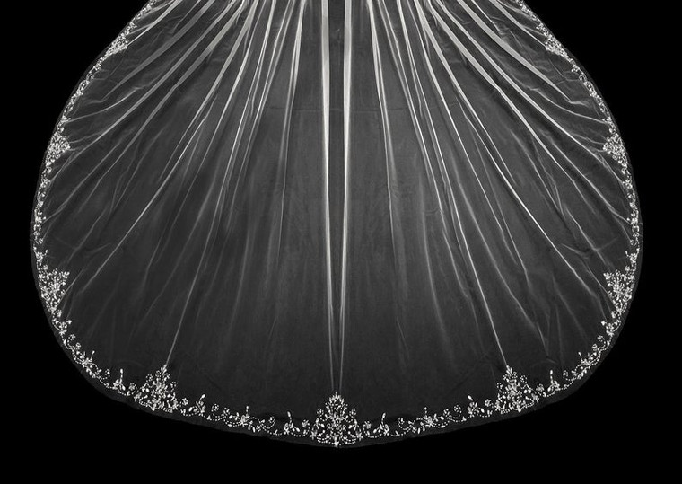 "144"" Long Extra Width Beaded Scroll Regal Cathedral Wedding Veil"