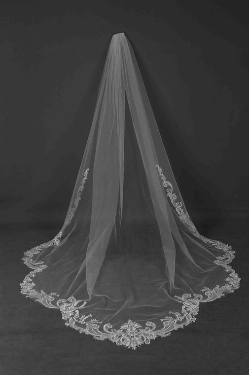 Regal Scallop Beaded Scroll Lace Cathedral Wedding Veil CF242