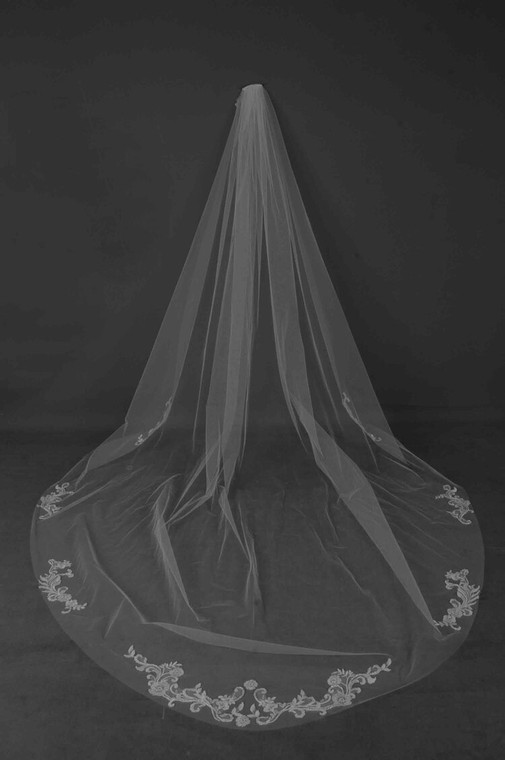 Beaded Lace Applique Royal Cathedral Wedding Veil CF240