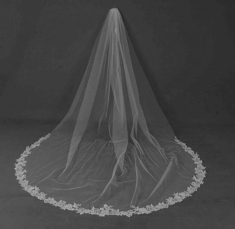 Ivory Beaded Lace Extra Width Cathedral Wedding Veil CF239