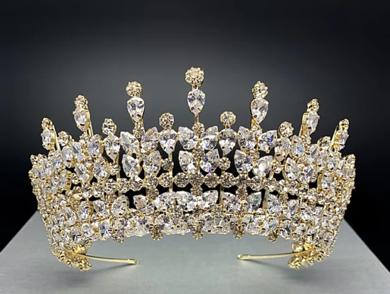 """Stunning  2 7/8"""" Tall CZ Wedding and Quince Tiara in Silver or Gold"""