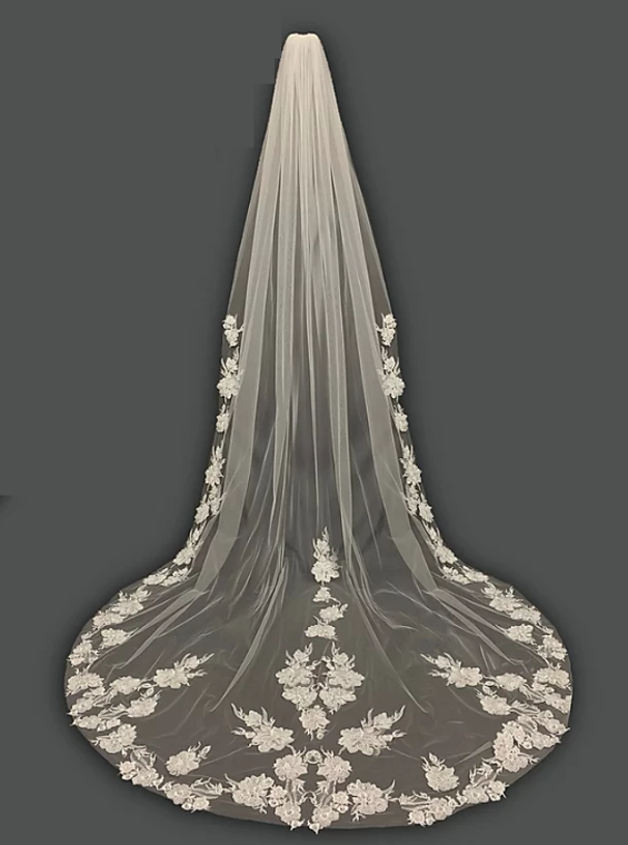 Exquisite Beaded Floral Lace Royal Cathedral Wedding Veil