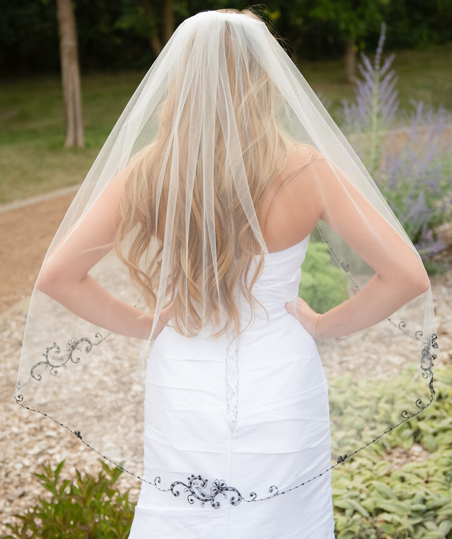 Ivory Fingertip Wedding Veil with Beaded Black Embroidery