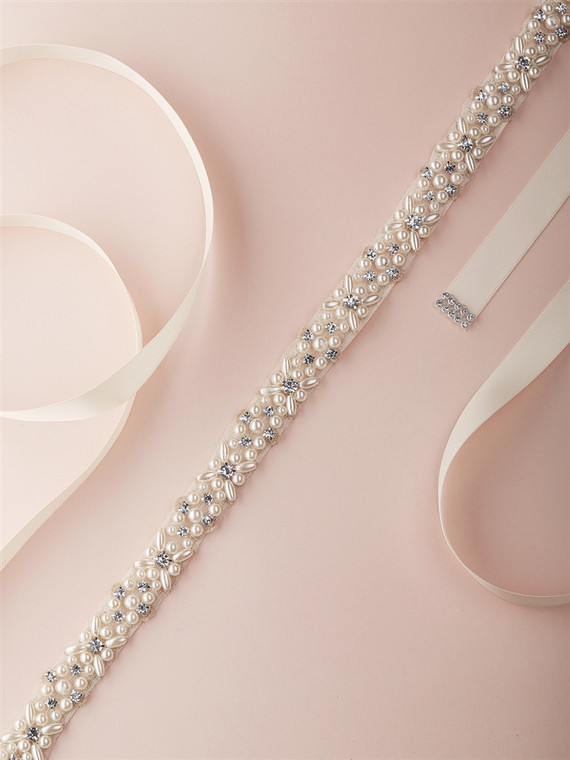 Ivory Pearl and Crystal Wedding Dress Sash Belt