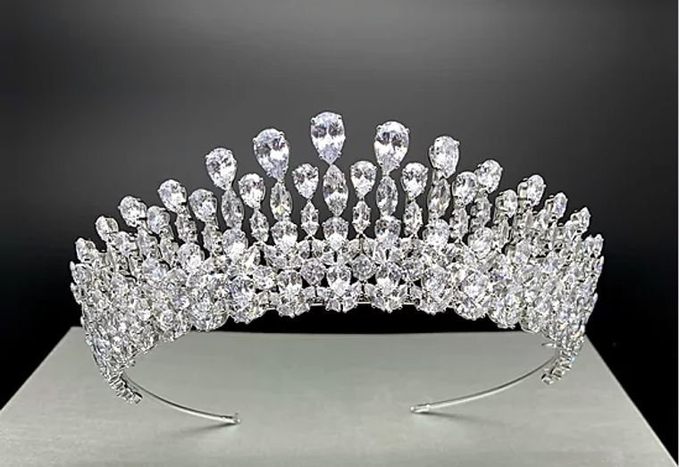 """2"""" Tall Teardrop and Marquise CZ Wedding and Quinceanera Tiara"""