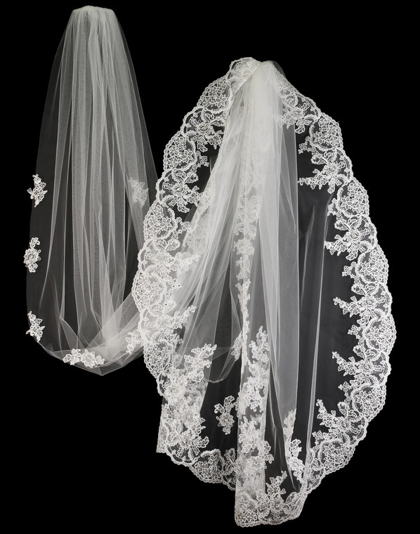 Royal Cathedral Wedding Veil with Pearl and Rhinestone Beaded Lace