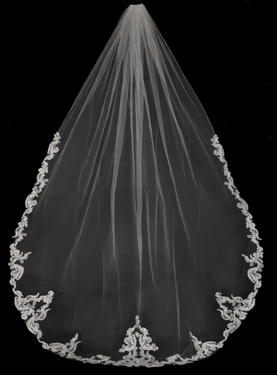 Beaded French Alencon Lace Royal Cathedral Wedding Veil Extra Width