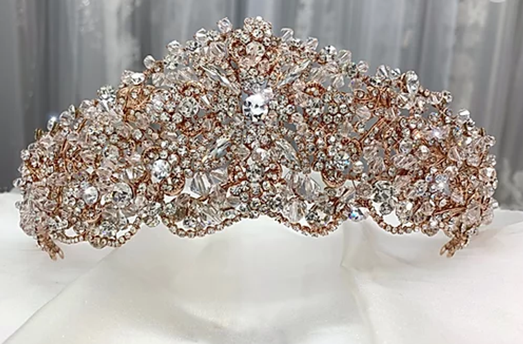 "Stunning 2 3/4"" Tall  Crystal Wedding Tiara in Silver , Gold or Rose Gold"