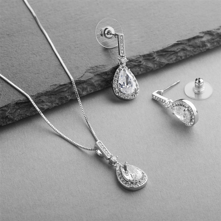 Silver Plated Pear Shape CZ Bridal and Formal Jewelry Set