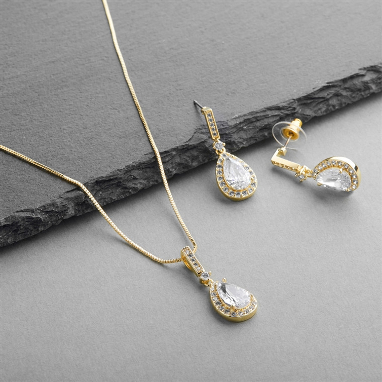 14K Gold Plated Pear Shape CZ Bridal and Formal Jewelry Set