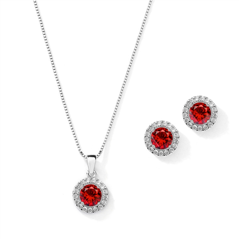 5 Sets Halo Ruby Red CZ Silver Platinum Plated  Bridesmaid Jewelry