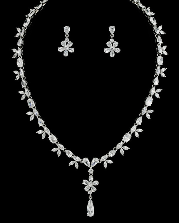 Silver Plated Floral CZ Drop Bridal Jewelry Set nr265