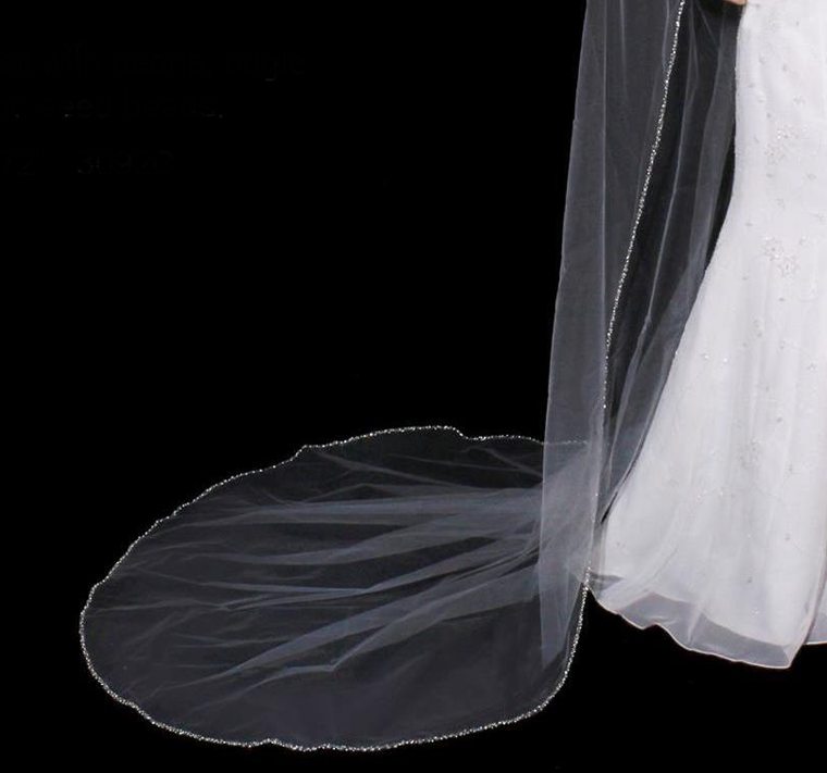 Regal Cathedral Wedding Veil with Pearl and Bugle Bead Edge