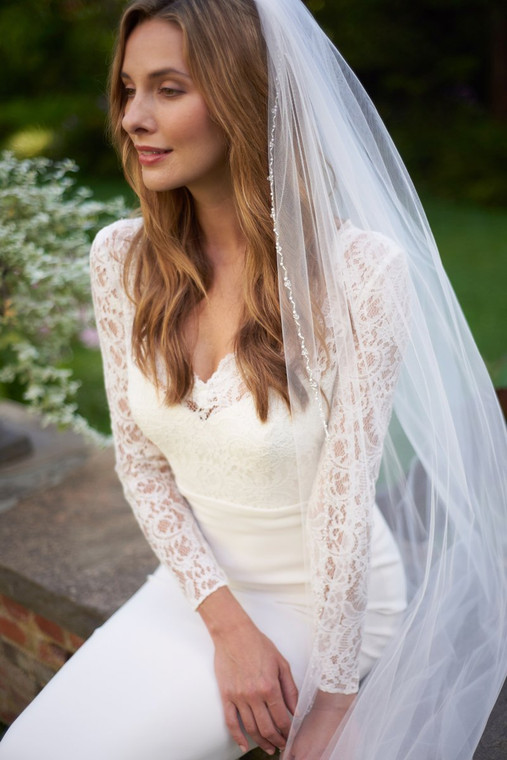 Pearl and Crystal Beaded Edge Cathedral Wedding Veil