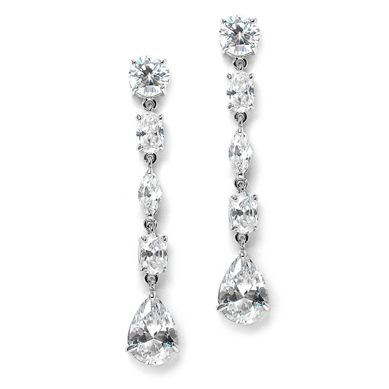 Linear CZ Silver Plated Wedding and Prom Earrings