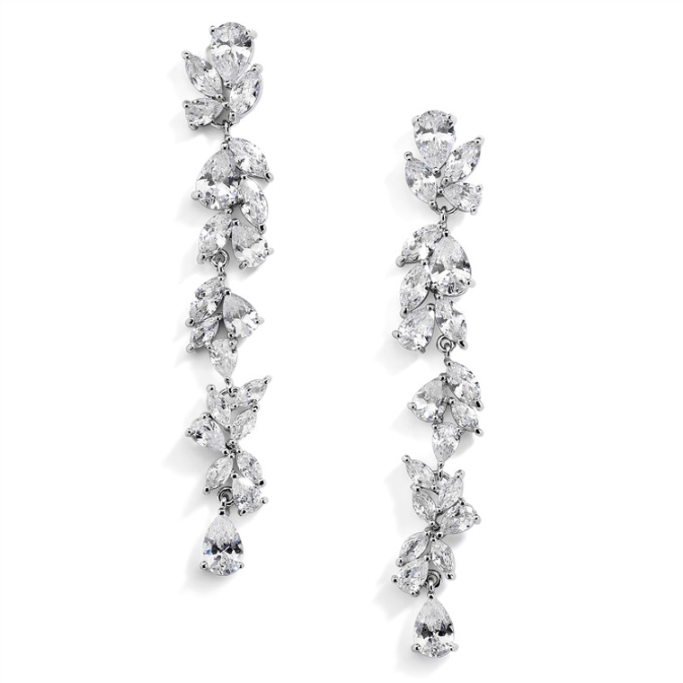 "Dramatic 3"" Long AAAAA CZ Silver Plated Wedding and Prom Earrings"