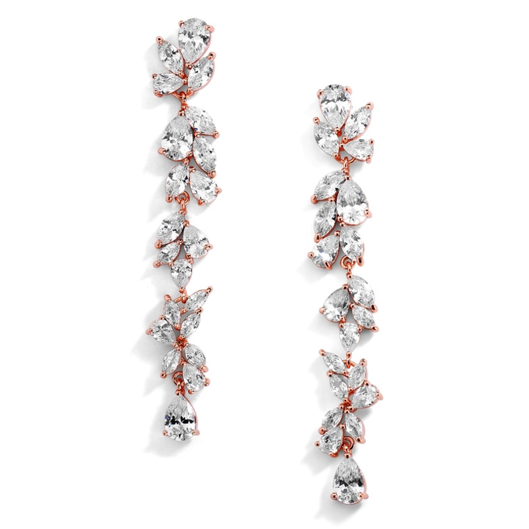 "Dramatic 3"" Long AAAAA CZ  Rose Gold Wedding and Prom Earrings"