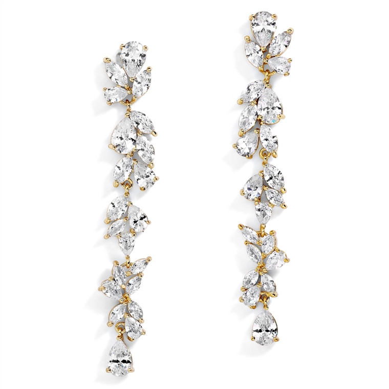 "Dramatic 3"" Long AAAAA CZ  14K Gold Wedding and Prom Earrings"