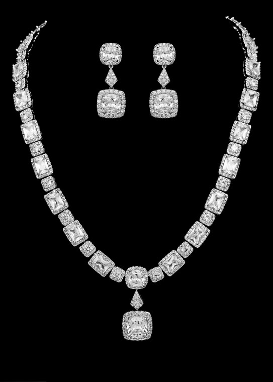 Stunning Silver Plated Pave CZ Wedding and Formal Jewelry Set