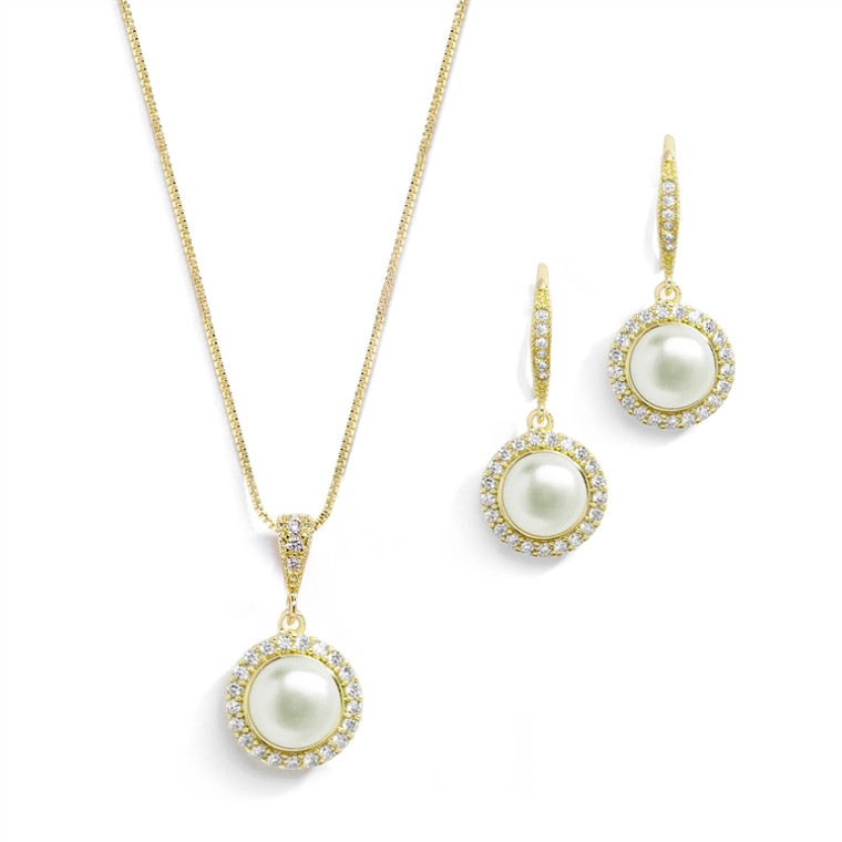 Freshwater Pearl Gold Plated Bridal Jewelry with CZ Frame
