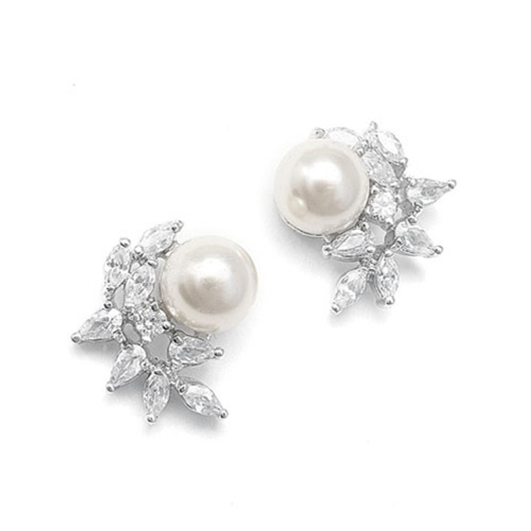 CZ and Pearl Crescent Wedding Earrings - pierced or clip on