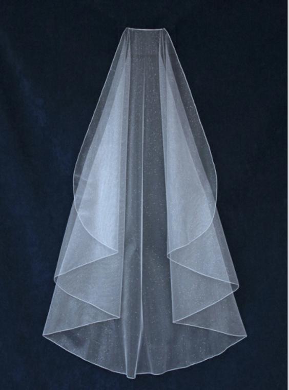 Angel Cut Angel Dust Knee Length Wedding Veil V6748