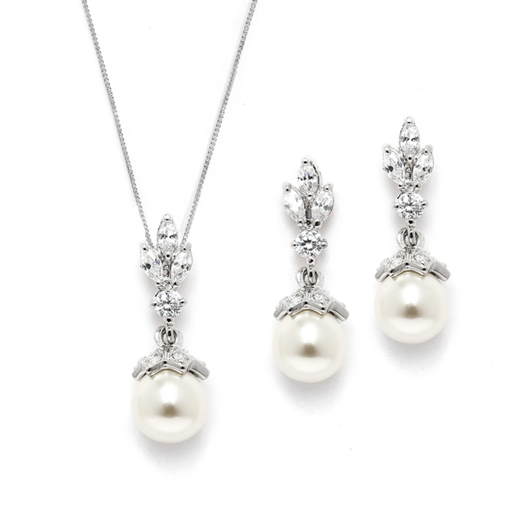 3 Sets Vintage Look Ivory  Pearl and CZ Drop Bridesmaid Jewelry