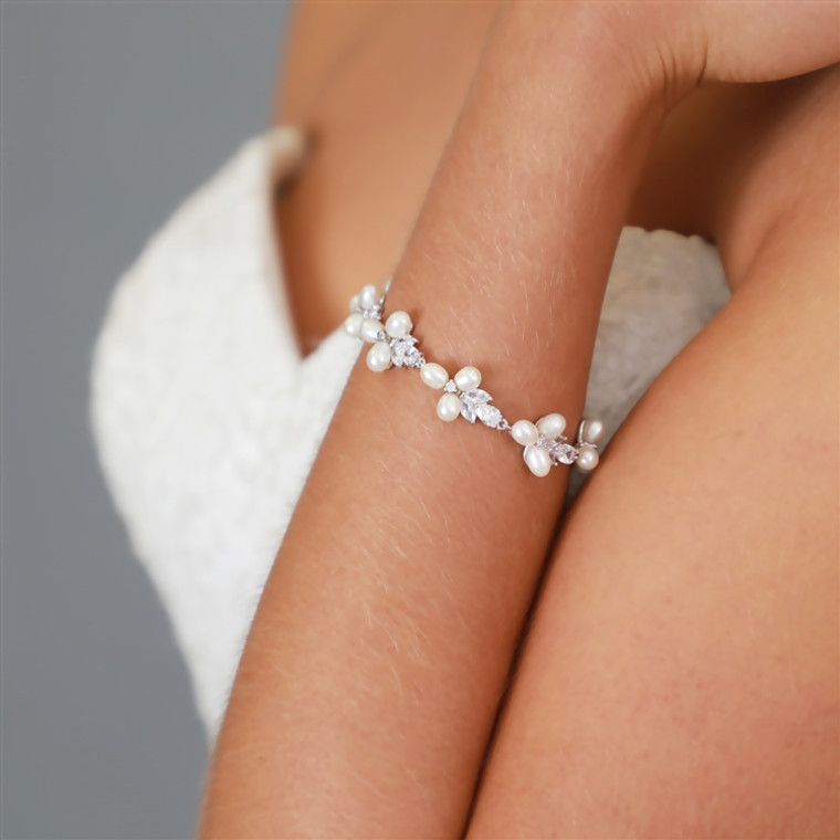 Petite Length Freshwater Pearl and CZ Silver Plated Bridal Bracelet