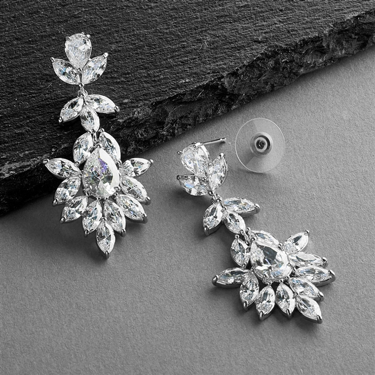 Pear and Marquise CZ Crystal Wedding Earrings in Silver Platinum