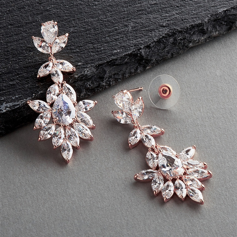 Rose Gold Pear and Marquise CZ Crystal Wedding Earrings