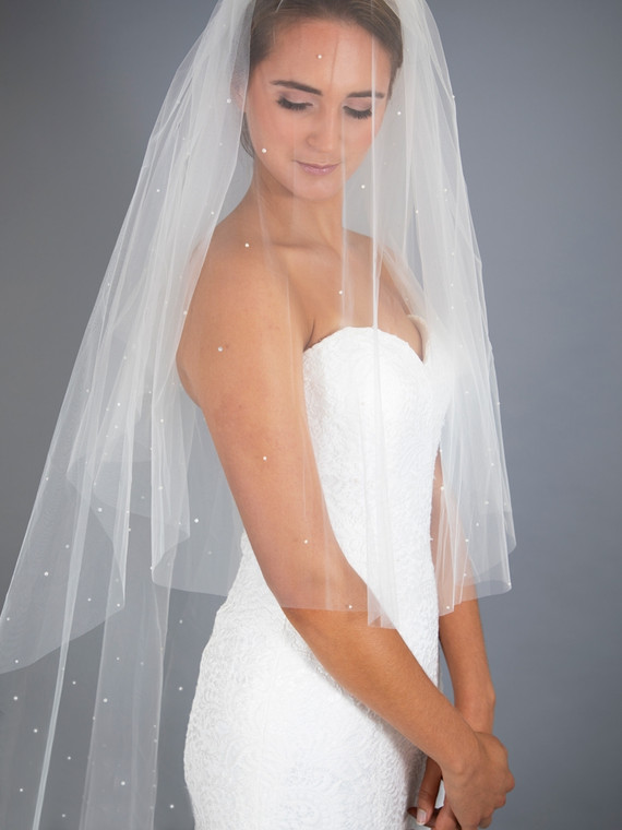 Two Layer Knee Length Wedding Veil with Scattered Pearls and Crystals