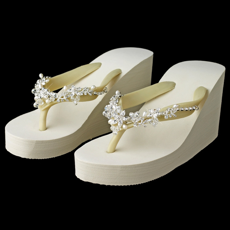 High Wedge Bridal Flip Flops with Crystal and Pearl Floral Vines