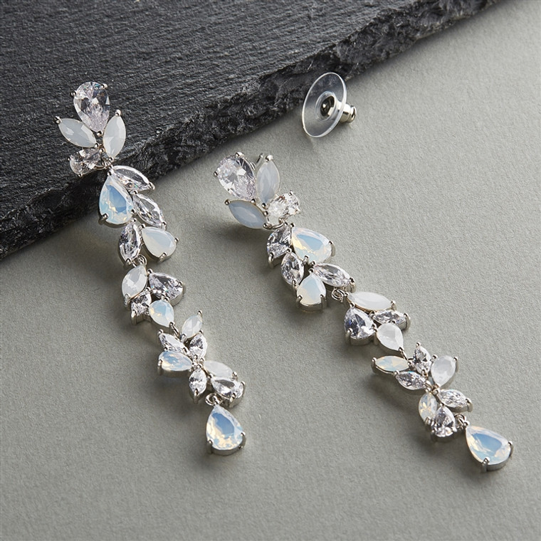 """3"""" CZ and Opal Crystal Wedding Dangle Earrings in Silver Platinum"""