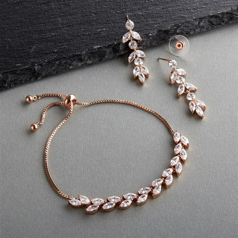 5 Sets Rose Gold AAAAA CZ  Bridesmaid Bolo Bracelet and Earrings
