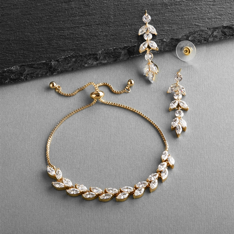 5 Sets 14K Gold AAAAA CZ  Bridesmaid Bolo Bracelet and Earrings