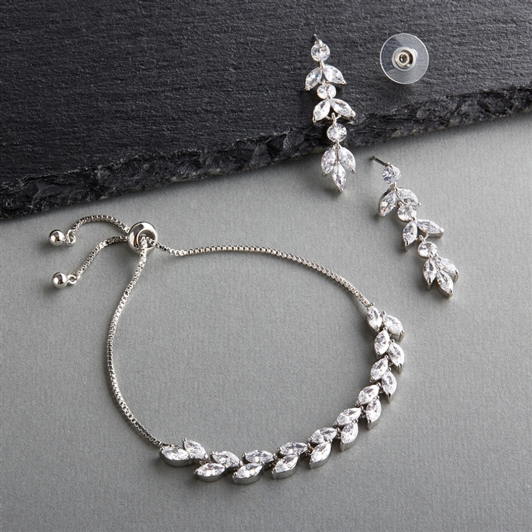 5 Sets AAAAA CZ  Bridesmaid Bolo Bracelet and Earrings in Silver