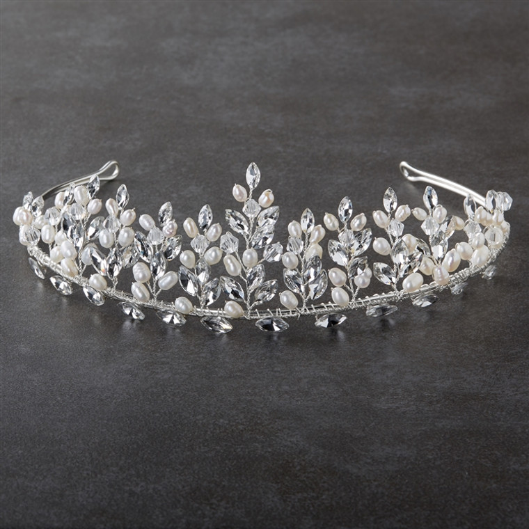 """1 3/4"""" Tall Freshwater Pearl and CZ Wedding Tiara in Silver"""