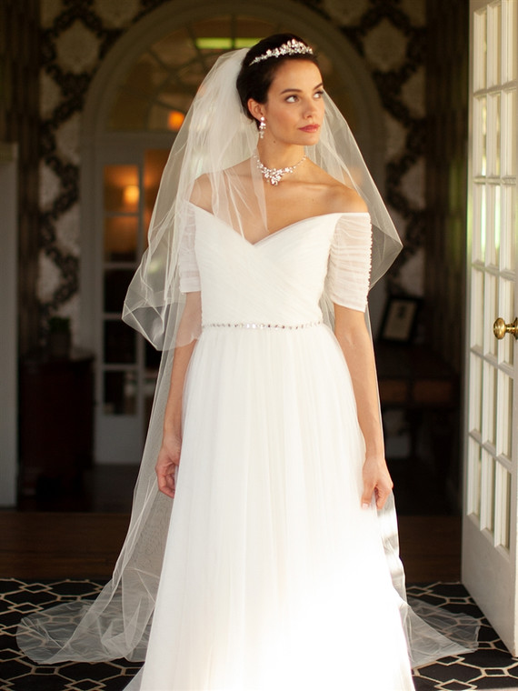 Cut Edge Two Layer Cathedral  Wedding Veil in Ivory