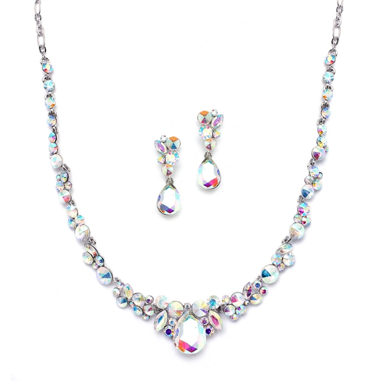 AB Crystal Wedding and Prom Jewelry Set in Silver Plating