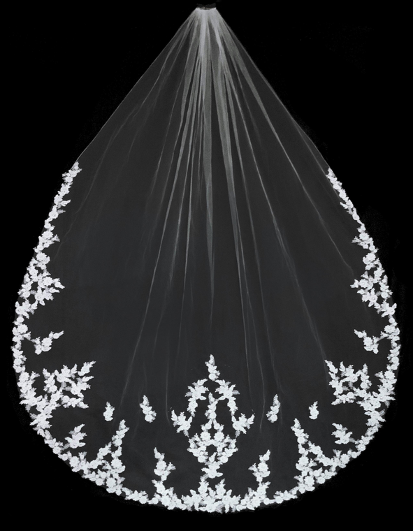 Royal Cathedral Wedding Veil with Alencon Lace and Rhinestones
