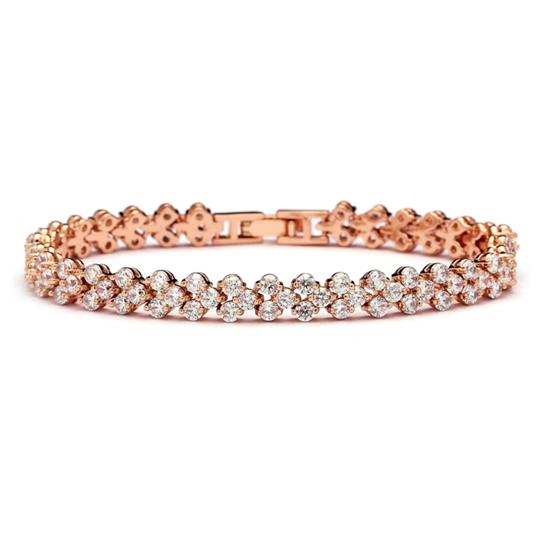 Rose Gold Plated CZ  Wedding or Prom Tennis Bracelet - Petite Size
